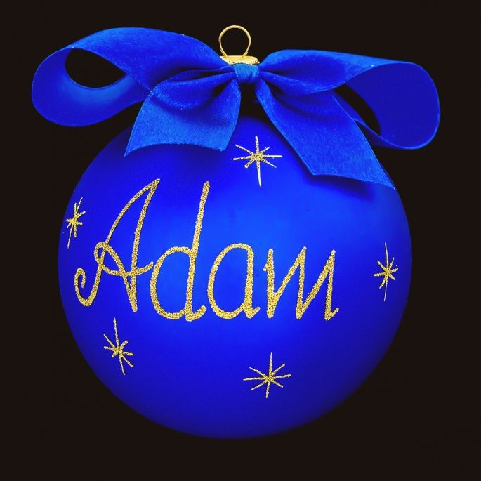 Blue Personalized Glass Christmas Tree Bauble / Ball Ornament Decoration from Poland
