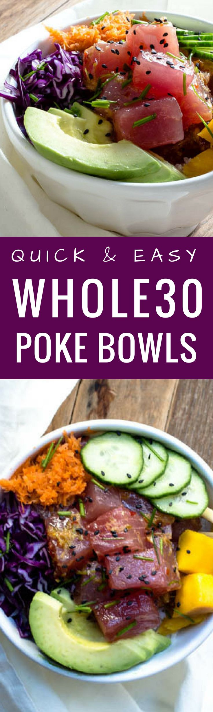Quick and easy poke bowls recipe. Paleo poke bowls. Healthy, homemade, gluten free poke bowl recipe. Tuna poke bowls. How to make the perfect poke bowl at home! Whole30 poke recipe. Easy whole30 dinner. Whole30 recipes. via @themovementmenu