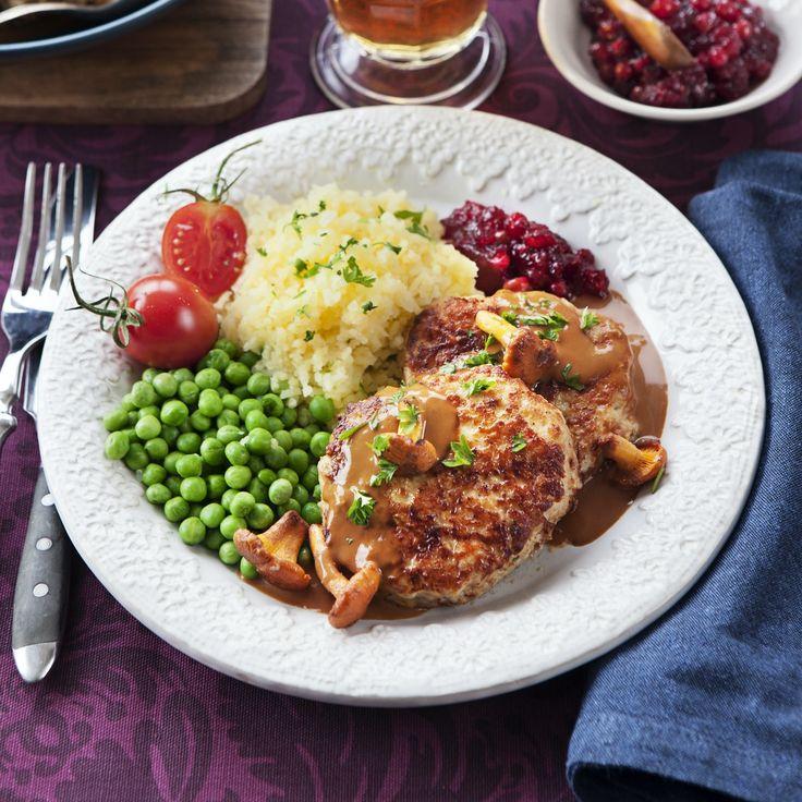 Kycklingwallenbergare med kantarellsås Recept i 2020