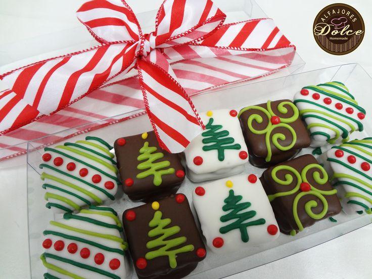 Caja 10 Alfajores chocolate Navidad