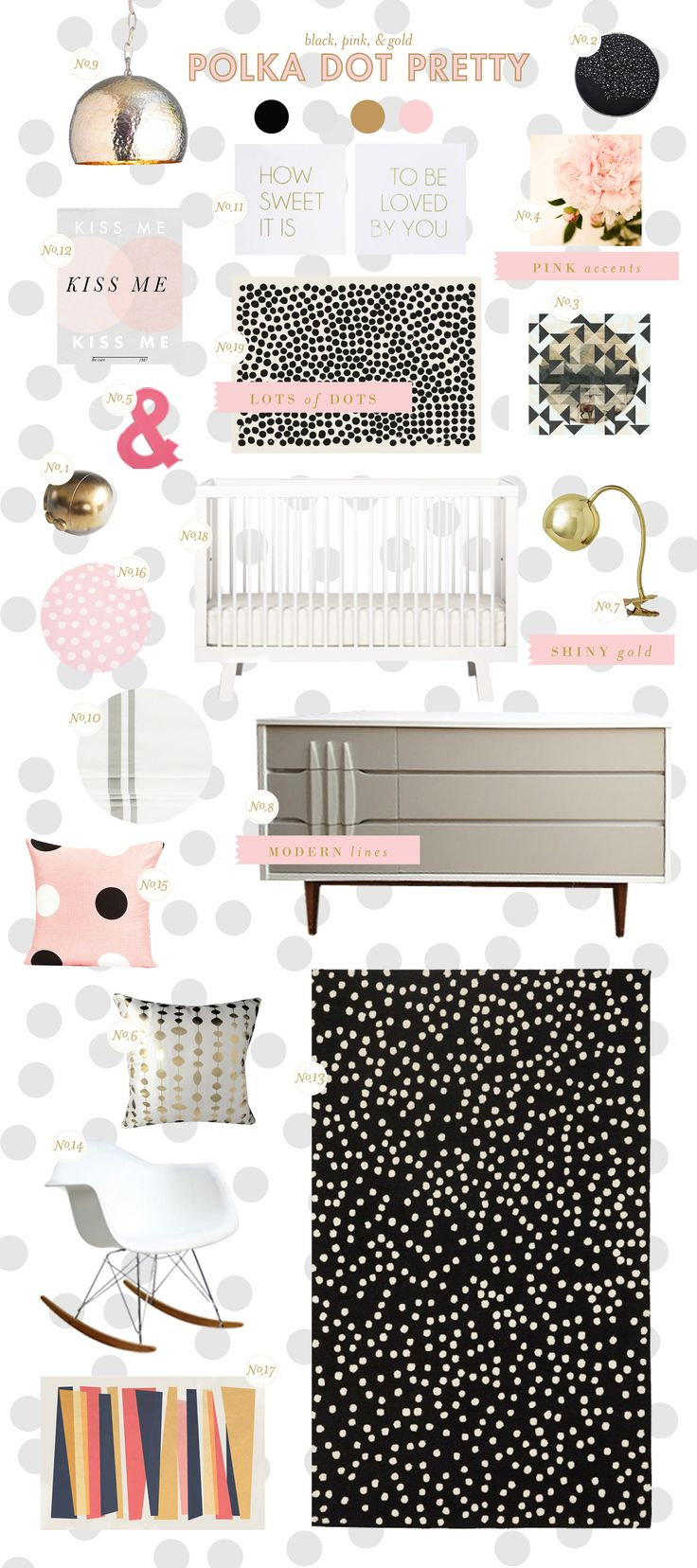 polka dot baby nursery inspiration style board by laybabylay