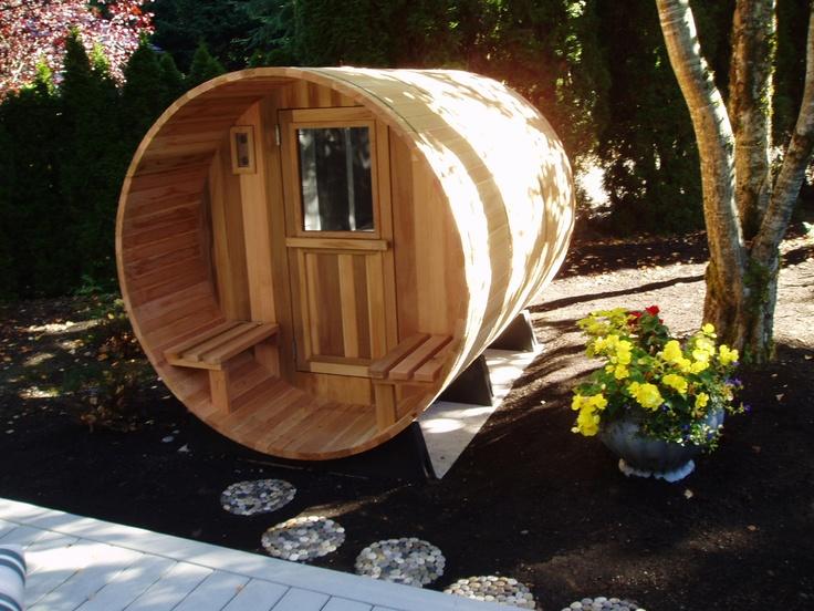 barrel sauna in my yard