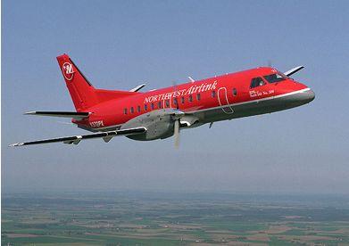 Mesaba SAAB 340 inflight.