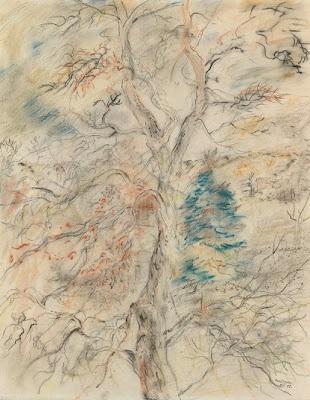 David Jones. 'The Storm Tree'. Graphite, watercolour and bodycolour. 1948.