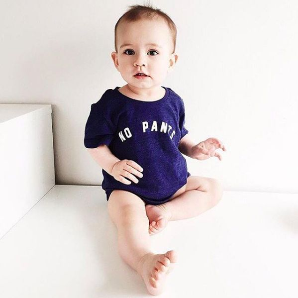audrey and olive modern maternity clothes - cheerily.co No Pants baby tee in navy blue color