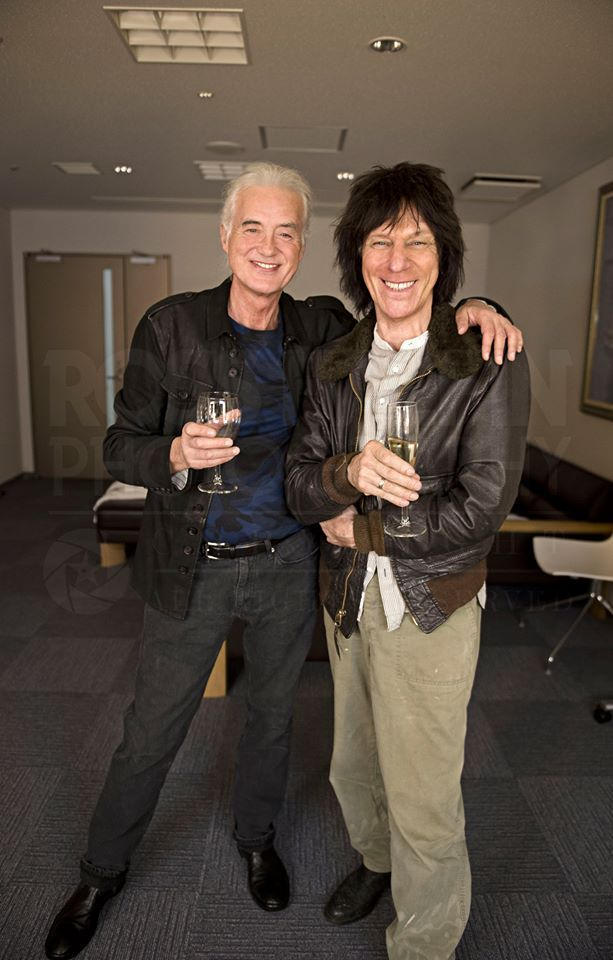 Jimmy Page and Jeff Beck backstage in Tokyo at Jeff Beck's show, April 2014.