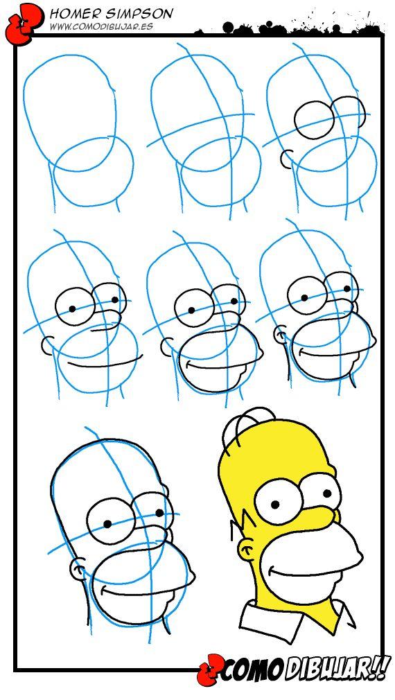 Como dibujar a Homer paso a paso: http://www.comodibujar.es/tutoriales-dibujo/los-simpsons-tutoriales-dibujo/como-dibujar-a-homer-simpson/