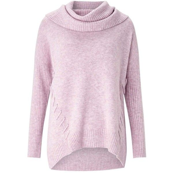 Miss Selfridge Pink Slouchy Cowl Neck Knitted Jumper ($55) ❤ liked on Polyvore featuring tops, sweaters, pink, pink top, long sleeve tops, cowl neck top, long sleeve jumper and pink sweater