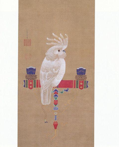伊藤若冲 Jakuchu Ito『鸚鵡図』