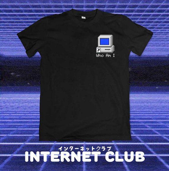 Who Am I Pocket Vaporwave Shirt by internetclub on Etsy