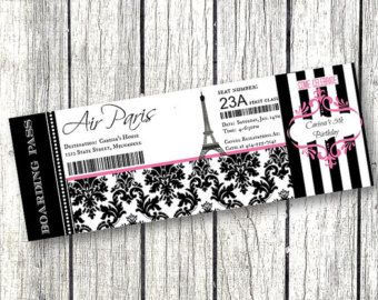 Paris Boarding Pass Bridal Shower Baby Birthday Party Invitation Airline Ticket Eiffel Tower Parisian Theme Editable BD60 In 2019
