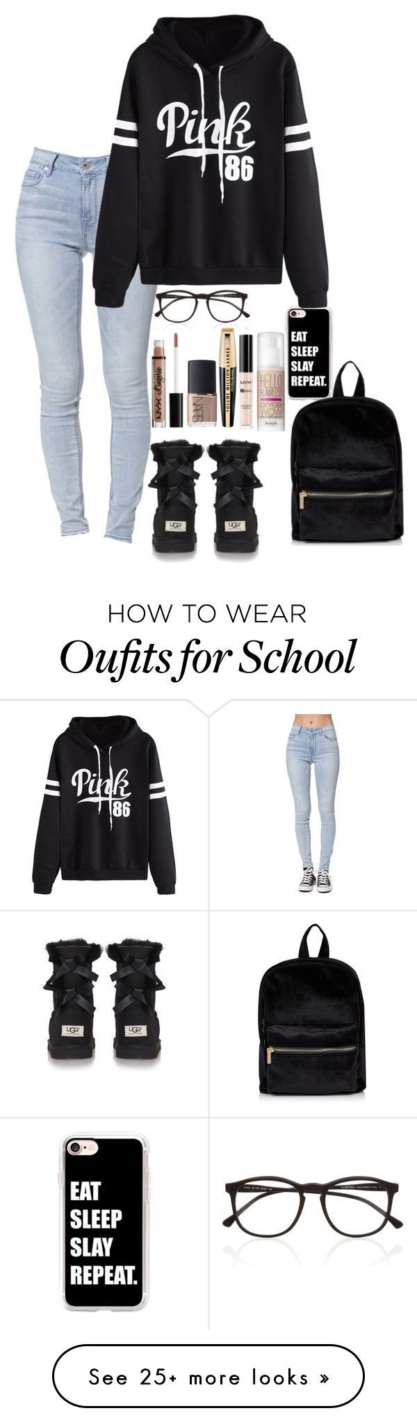 """Snow Day at School 12/7/16"" by violeta27 on Polyvore featuring Casetify, Bullhead Denim Co., UGG Australia, WithChic, NYX, Illesteva, NARS Cosmetics, L'Oréal Paris and Benefit"