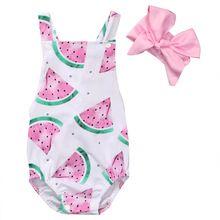 Sweety Meisje Rompertjes Watermeloen Pasgeboren Meisje Kids Romper Hoofdband Mouwloze Zomer Meisje Kleding Outfits 0-24 M(China)