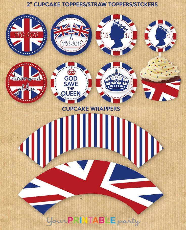 PRINTABLE British Union Jack cupcake wrappers & picks