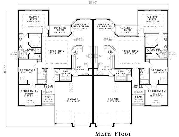25 best ideas about duplex plans on pinterest duplex for Single story multi family house plans