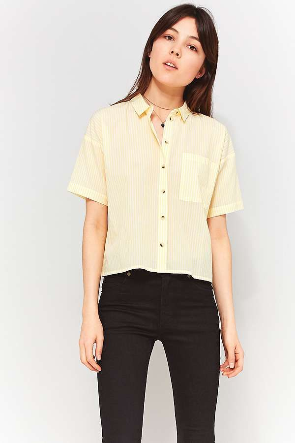 Slide View: 3: Urban Outfitters Cropped '80s Pastel Stripe Shirt
