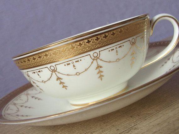 Antique English China tea cup and saucer set, Cauldon tea cup, Gold tea cup…
