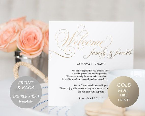 Gold Wedding Itinerary Card Welcome Note by SmittenPaperProps