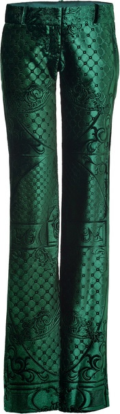 Balmain Bottle Green Laser Cut Velvet Pants in Green | The House of Beccaria~