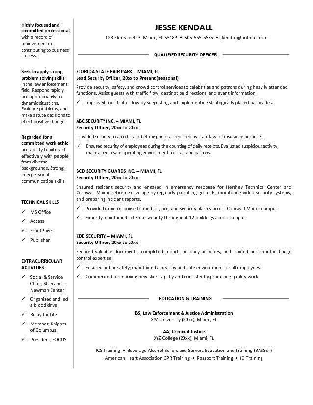 security guard job sample resume