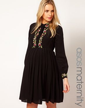 ASOS Maternity Shirt Dress With Floral Embroidery