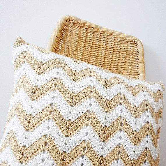 FREE SHIPPING  Chevron Crochet Pillow Organic Cotton by craftaria, $55.00