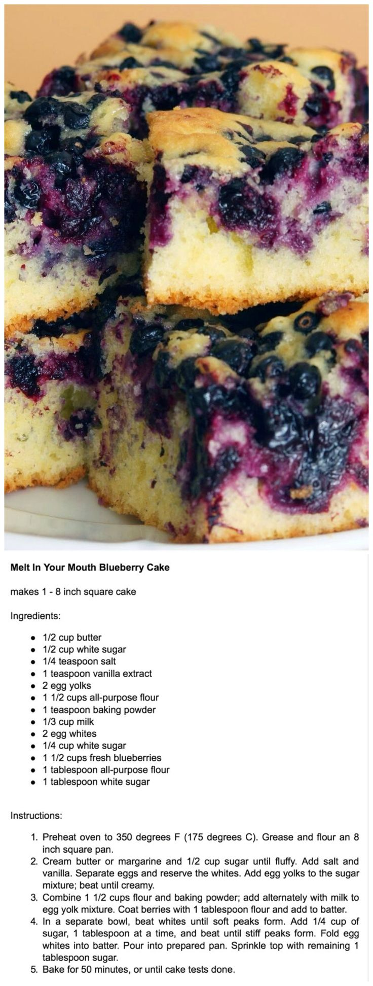 Melt-in-your-mouth Blueberry cake recipe.