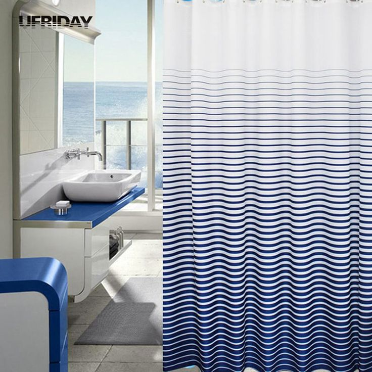 UFRIDAY Gradient Blue Striped Shower Curtain Moldproof Waterproof Thickened Shower Curtains Bath Curtain with 12pcs Hooks Ring