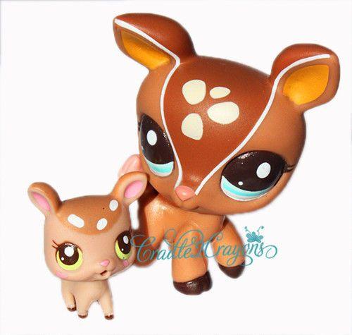 ★ Littlest Pet Shop ★ LPS ★ RARE BROWN MOMMY & BABY DEER FAWN # 2499 # 2500