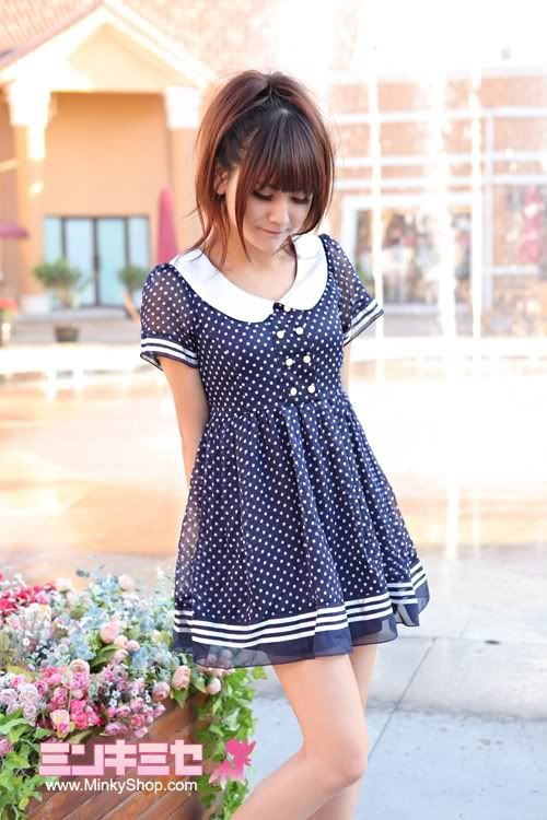Kawaii Sweet Polka Sailor Dress