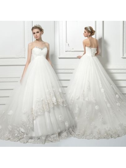 Beading Ball Gown Lace Pregnant Wedding Dress Amazing Bridal Gowns