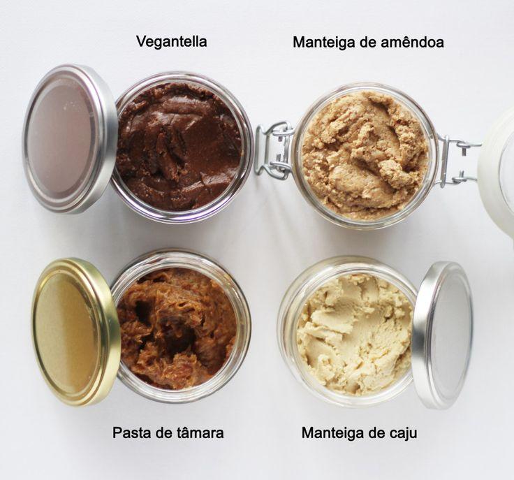 Pasta de Tâmara, manteiga de amêndoa, manteiga de caju e vegantella saudáveis e completamente vegan (sem açúcar, nem leite)