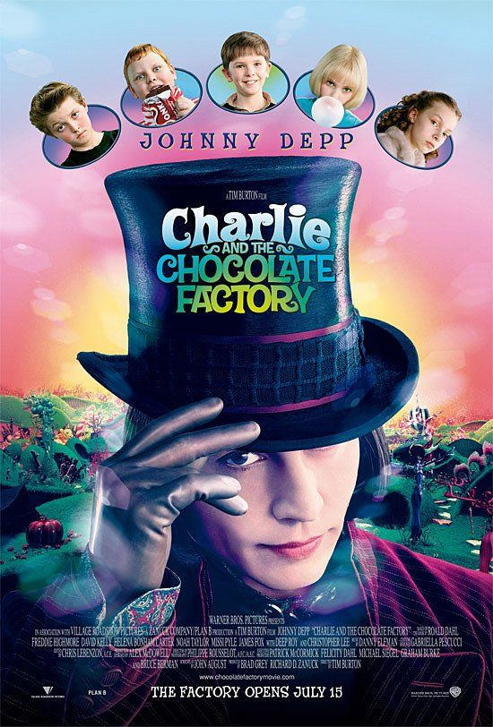 Charlie and the Chocolate Factory   --   115 min  -  Adventure | Comedy | Family  -  July 2005    --   A young boy wins a tour through the most magnificent chocolate factory in the world, led by the world's most unusual candy maker.   --   Writers:  Roald Dahl (book),  John August (screenplay)