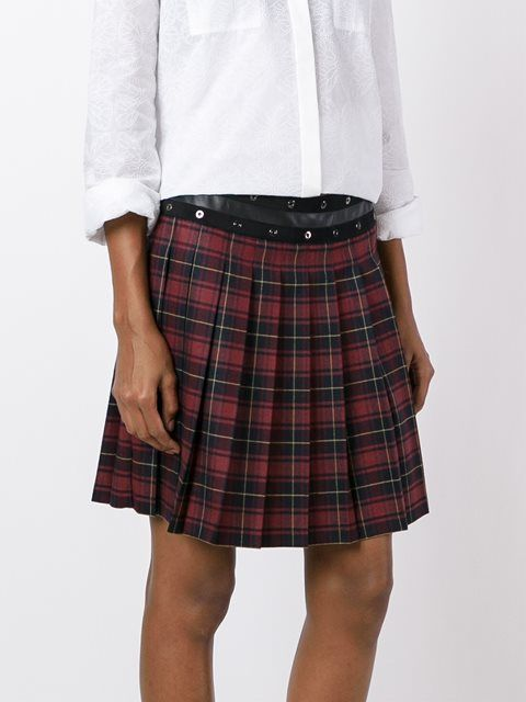 Giamba pleated plaid skirt