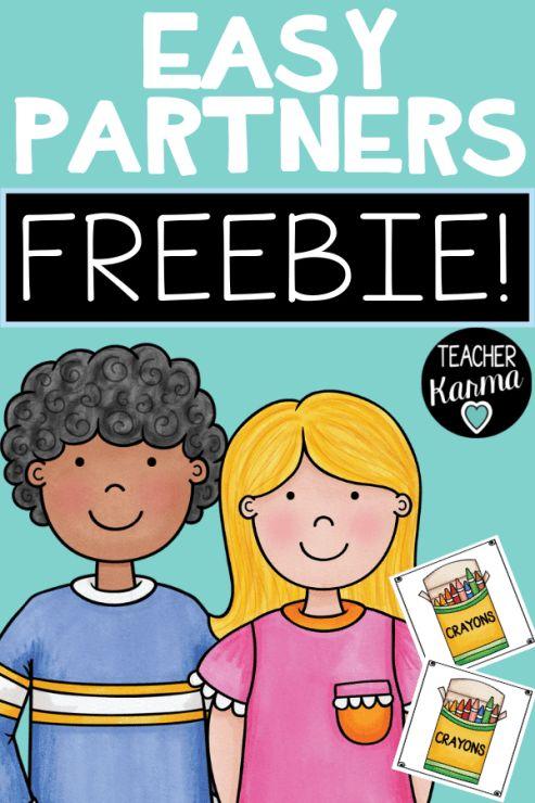 partner cards  make easy partners freebie — teacher karma