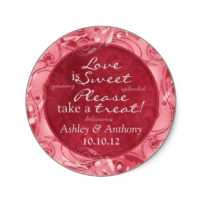 Red and white floral personalized candy buffet stickers. Easy to personalize the text. #weddings #showers #diy