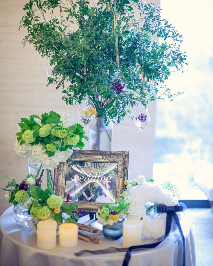 「前picのお譲りについて、お問い合わせいただきありがとうございます♡  お問い合わせいただいた花嫁様、今しばらくお待ちください♡♡ * 振り返りpicにもどります⑅︎◡̈︎* ✩︎ウェルカムスペースpic…✩︎ * welcome tree * お花でゲストの方々をお迎えしたくて…」