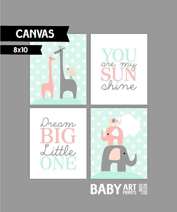 Peach Light coral Mint Girl Nursery canvas art by babyartprints