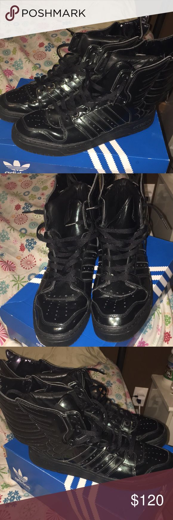 Jeremy Scott adidas black angel wing shoes ‼️MAKE AN OFFER‼️  Bought these for my boyfriend but they were too small. A few light signs of wear as seen in the pictures. Size 11.5 Jeremy Scott x Adidas Shoes Sneakers