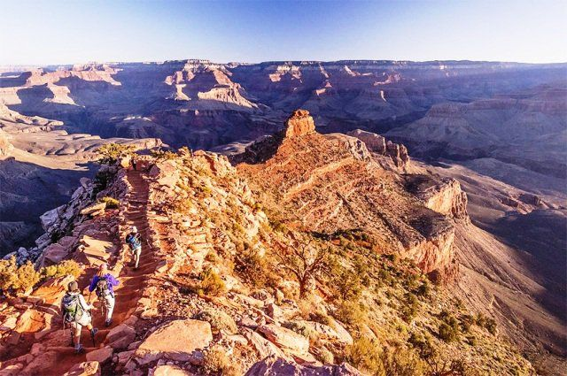 The best thing I've ever tackled in my life!! The Rim-to Rim hike. It was life changing.  (Hikers in Grand Canyon National Park) (OARS)