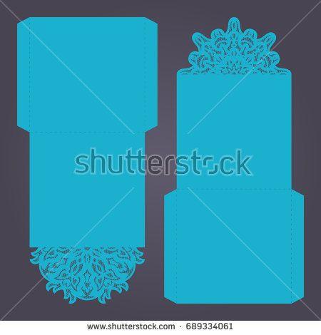 Paper lace envelope template, mock-up for laser cutting. Vector illustration.