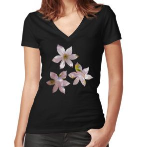 Spring Pink blossom branch Women's Fitted V-Neck T-Shirt by #PLdesign #FlowerGift #spring #blossoms