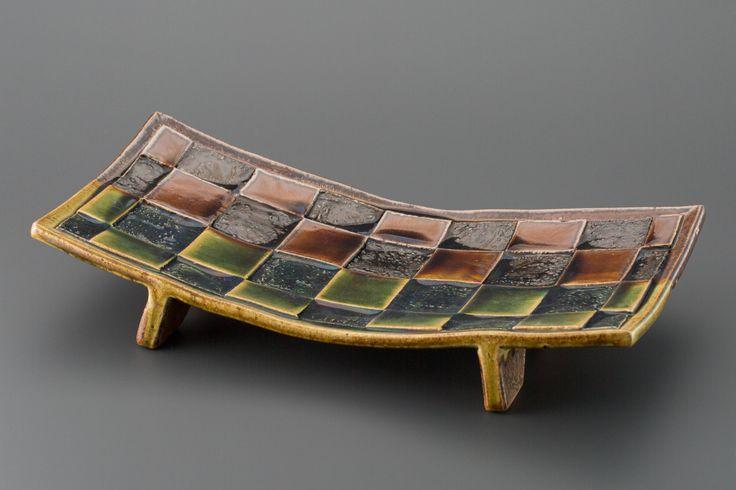 掛分織部刻文俎板皿 Chopping board plate with engraved, Oribe type with amber glaze 2013