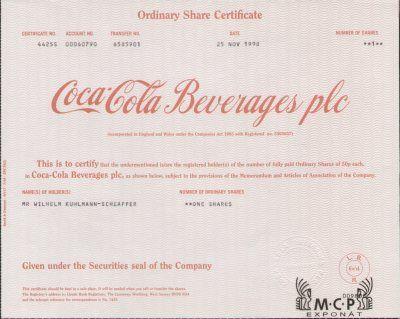 80 best Coca-Cola Stock Certificates \/ Aktien \/ akcie - company share certificates