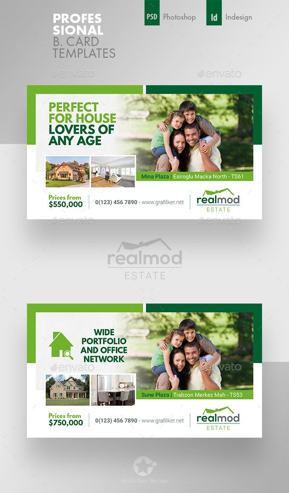 Real Estate Business Card Templates PSD InDesign INDD