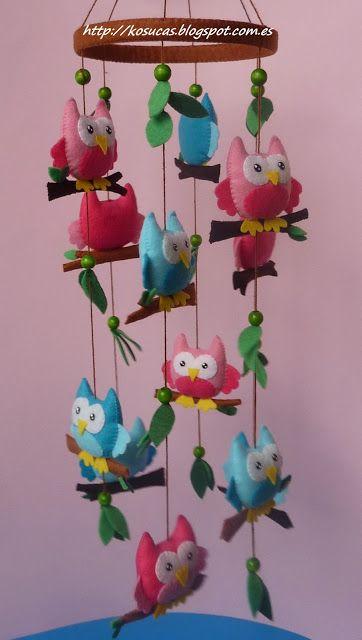 Owl felt crib mobile