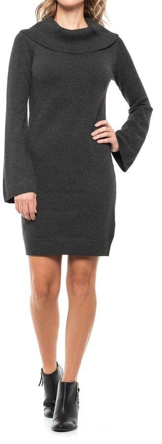 Joan Vass Cowl Neck Sweater Dress - Long Sleeve (For Women)