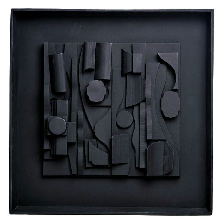 "SymphonyThree, Sculpture-Resin, Louise Nevelson, 18.25 x 18.25 x 2 in., USA. ""Born In1899 in the Ukraine, Nevelson came to the US in 1905. Her father was a timber merchant and reports suggest that Louise, then known as Leah, played with timber as a young girl….deciding to be a sculptor at age ten."""