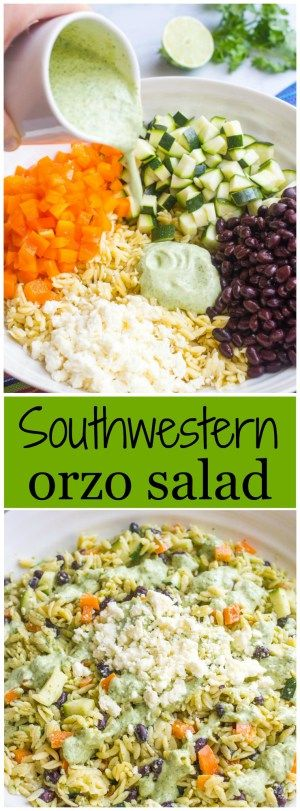 A cool, creamy southwestern orzo pasta salad with an easy homemade cilantro-lime vinaigrette