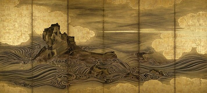 "Attributed to Hasegawa Tōgaku, ""Waves and Rocks,"" Momoyama period, early 17th…"